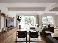 Union Street,  Brooklyn   Interior design by WORKSTEAD - with custom walnut hardwood & veneer cabinetry and storage   Living room