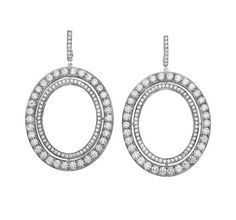 Ivanka Trump large size signature oval earrings in 18k white gold with diamonds