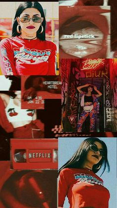 Cazzu collage red Girl Photo Poses, Girl Photos, Red Lipsticks, Billie Eilish, Wallpaper S, Ladybug, Emoji, Cute Pictures, Trap