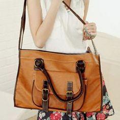 $10.46 New Arrival Solid Color Zipper Big Bag For Women