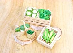 Miniature Crates and Baskets with Vegetables