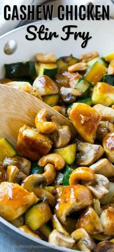 Cashew Chicken Stir Fry {Take Out Recipe} - Spend With Pennies This cashew chicken stir fry is full of sauteed chicken, veggies and crunchy cashews, all coated in a simple savory sauce. No need to order take out when you can make your own at home! Asian Recipes, Healthy Recipes, Ethnic Recipes, Diet Recipes, Chicken Cashew Stir Fry, Chicken Stirfry Recipes, Zucchini Stir Fry, Cashew Chicken Recipe Easy, Simple Chicken Stir Fry