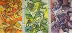 Cubist inspired exercise--great for review of color schemes.
