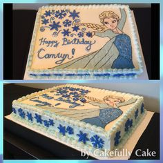 Frozen Elsa Cake with buttercream transfer and snowflakes -from Cakefully Cake