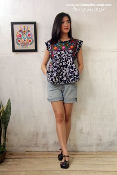 Batik Amarillis' s Viva La Vida! Made in Indonesia ... Mexican folk art inspired... <3 Frida Mexican Embroidery blouse <3 ....This magnificent Mexican traditional inspired blouse is super pretty & comfy with its bold & beautiful embroidery. made with Batik Tuban Of Indonesia on Muslin & mexican embroidery