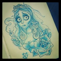 disney pin-ups | My Corpse Bride Design to tattoo on a customer.