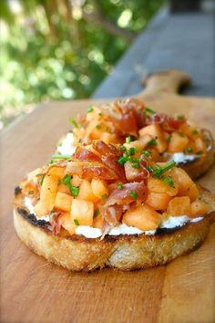 Cantaloupe bruschetta w/ crisp Pancetta, goat cheese & chive vinaigrette.The Herb Box Scottsdale, AZ