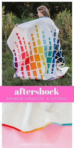 Rainbow Fat Quarter Quilt | Modern Quilt Tutorial | Aftershock from Wren Collective Baby Quilt Patterns, Modern Quilt Patterns, Modern Quilting, Quilting Tools, Quilting Projects, Quilting Designs, Geometric Quilt, Rainbow Quilt, Colorful Quilts