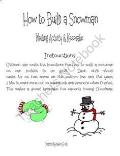 10 pages) - This is a winter writing activity for Pre-K, Kindergarten ...