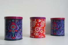 A set of three Retro Tin Containers 60s 70s by vintagemoodsNL