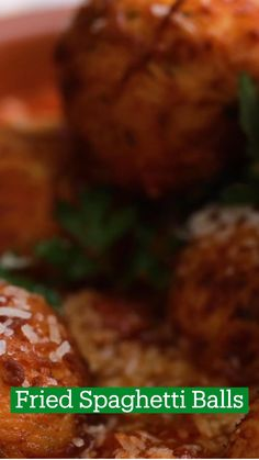 Fried Spaghetti, Arancini, Angel Hair, Cheese Ball, Bolognese, Bread Crumbs, How To Cook Pasta, Tomato Sauce, Ricotta