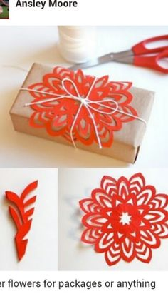 Cutout flower from origami paper & for packaging decoration