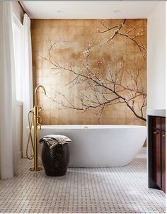 Pretty gold leaf mural. This would make the rest of my house seem very dull though.