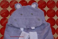 hooded towel Happy Hippo shark in blue and pink von Schnuffelinis