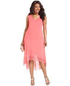 SL Fashions Plus Size Dress and Jacket, Sleeveless High-Low Hem - Plus Size Dresses - Plus Sizes - Macy's