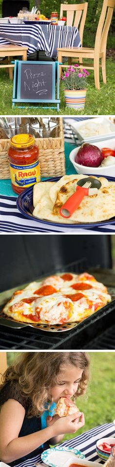 Slow Down With Quick Family-Style Grilled Pizza - LASSO THE MOON Who says you can't have a theme party on a weeknight? Pizza night at Harrington 's house using Sauce is clearly Quick Dinner Recipes, Great Recipes, Favorite Recipes, Delicious Recipes, Camping Meals For Kids, Kids Meals, Naan, Grilled Pizza Recipes, Good Food