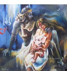 Shiva, Shakti and the Little One Shiva Linga, Shiva Shakti, Shiva Art, Hindu Art, Indian Gods, Indian Art, Wicca, Shiva Parvati Images, Picasso Paintings