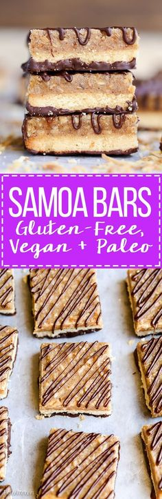These Samoa Bars have a shortbread crust a layer of toasted coconut caramel and a dark chocolate drizzle! They're a gluten-free Paleo vegan and guilt-free way to enjoy your favorite Girl Scout cookie.