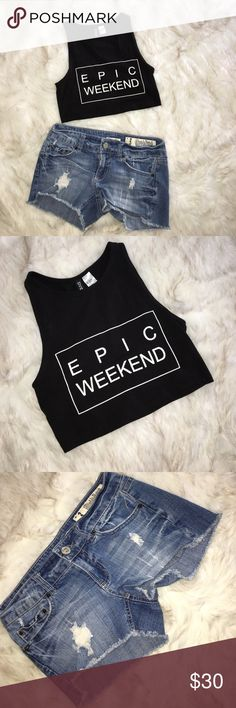 "Epic Weekend Crop Top + Shorts (Bundle) H&M. This is the very infamous ""Epic Weekend"" sleeveless crop top (Size Small). BOTH GENTLY WORN. I've paired it with a pair of shorts (Size 3 = 26"" Waist), if you'd like to purchase separately this top ASK & I'll list it separately. Otherwise Bundle both ☺️ REASONABLE OFFERS WELCOME ❤️ Topshop Tops Crop Tops"