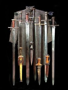 """victoriansword: """" """" Kaskara, arm daggers, maille shirt """" C. weapons and armour from Sudan."""
