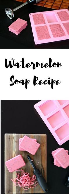 Watermelon Soap Recipe with Real Watermelon Fruit! Learn how to make this cold process watermelon soap with real anti-aging beauty and skin care benefits! Vitamins A and C, in combination with the lycopene content found in watermelon, have been shown to help fight the free radicals that cause aging. While vitamin A has wonderful toning properties that can help to shrink pores as well as combat acne. So what are you waiting for? Give this amazing soap-making tutorial a try! #soapmaking #diy