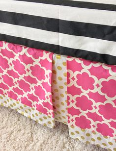 Tailored Crib Skirt made in our adorable taza hot pink! Our crib dust ruffles are the perfect amount of stylish and we love the look of this gold dot crib skirt! Choose a 3 or 4-sided crib skirt for your crib bedding! If you are just pushing your crib up against the wall, theres no need for a fourth side! Our tailored crib skirts have an approximate 17-18 drop and fit a standard crib!  Dont love these prints? Contact us if youd like something different and we can help