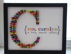 Crayon Monogram I made for my kiddo's teacher