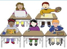 Graphic of five students sitting at desks