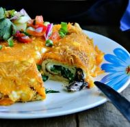 A delicious recipe for Baked Crepes with Mushrooms and Spinach