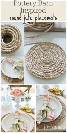 DIY Farmhouse Style Decor Ideas for the Kitchen - Pottery Barn Inspired Round Jute Placemats - Rustic Farm House Ideas for Furniture, Paint Colors, Farm House Decoration for Home Decor in The Kitchen - Wall Art, Rugs, Countertops, Lights and Kitchen Accessories http://diyjoy.com/diy-farmhouse-kitchen #HomeDecorAccessories,