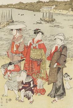 Women Walking on Beach. Ukiyo-e woodblock print, about 1810, Japan, by artist Utagawa Toyokuni I.