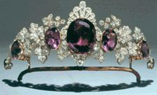 Amethyst and diamond tiara in the form of vine leaves, circa 1870. In the law of precious stones, the amethyst stands for devotion. Courtesy the Marquess of Tavistock and the Trustees of the Bedford Estates.