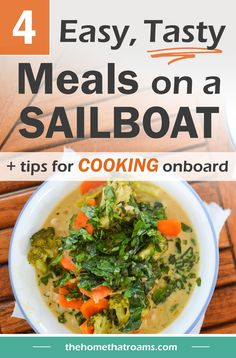 Transitioning to cooking on a sailboat will require a few adjustments. Preparing easy meals on a boat means balancing the type of foods you cook with, cooking from flexible recipes, and finding ways to prep food in a small space. Here are four of our favorite home-cooked meals that are flexible and easy to prepare in a boat galley. Bertolli Olive Oil, Sailboat Living, Pickling Jalapenos, Canned Pineapple, Thai Dishes, Sugar Snap Peas, Green Curry, Curry Paste