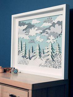 Art Print Paper Sculpture Winter by DeeDeeJacq on Etsy