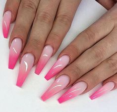 If you want cute ombre nails that suit summertime in 2019 then check our cherry-picked ombre acrylic nails between purple, blue, yellow, and pink ombre nails. Pink Ombre Nails, Pink Manicure, Summer Acrylic Nails, Best Acrylic Nails, Summer Nails, Pink Tip Nails, Acrylic Nails Coffin Ombre, Pink Summer, Ombre Nail Colors