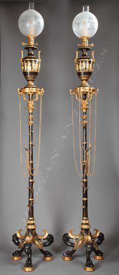 Paire de lampes, par H. Cahieux et F. Barbedienne - Tobogan Antiques