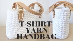 I have finally decided to make this crochet handbag tutorial public! For the written pattern go to the link below- it is available in English and in Italian! Crochet Jumper Pattern, Handbag Tutorial, Loom Knit Hat, Crochet Bowl, Crochet Shoulder Bags, Crochet T Shirts, Crochet Market Bag, Crochet Handbags, T Shirt Yarn