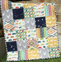 Deer Quilt, Bright Colorful Baby Blanket, Toddler Bed Quilt, Nursery Bedding