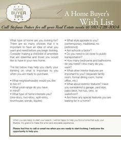 Home Buyers Wish List.