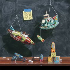 Richard Hall Fine Art Contemporary Realism Still Life Paintings Playful, Humorous, Vintage toys