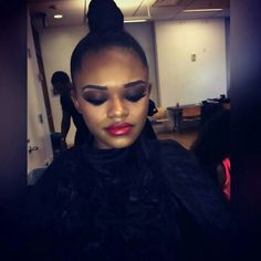 Our Lipstick On This Beauty Backstage with Mua  @theartistnoelshaefon One of Todays Look At The Golden Scissors Awards / Glynn Jackson