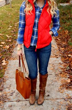 J.Crew Excursion Puffer Vest in Candied Cherry with a blue flannel. Perfect!