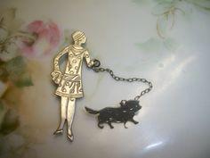 Vintage Flapper Girl - Femme & Dog Chatelaine Brooch Silvertone | eBay