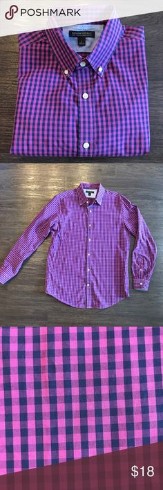 Banana Republic Button Down Like new condition! Soft wash tailored slim fit. Dark purple & bright purple cross stripped button down. Banana Republic Shirts Casual Button Down Shirts