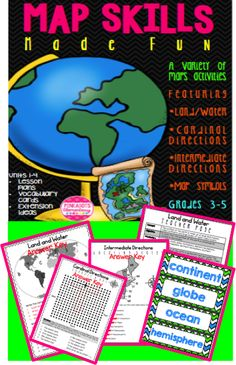 Do you teach Social Studies and struggle to find interesting, yet educational activities and lesson ideas? If so, this is EXACTLY what you need for 3-4 weeks of lessons! Included in this first edition of map skills are units 1-4.  Featuring: *Land/Water *Cardinal Directions *Intermediate Directions *Map Symbols