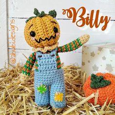 "♡Poly♡ (@abubi.designs) agregó una foto a su cuenta de Instagram: ""(ESP/ENG) 🎃Les presento al pequeño Billy 🧡 . . 🎃I present to you little Billy 🧡 . . #Halloween…"" Amigurumi Doll, Crochet Hats, Dolls, Halloween, Instagram, Knitting Hats, Baby Dolls, Puppet, Doll"
