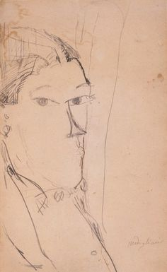 Amedeo Modigliani (Italian, 1884 - 1920) Man's profile, 1915 Italian Painters, Italian Artist, 1920 Men, Henna Drawings, Art Drawings, Male Profile, Fine Art Drawing, Amedeo Modigliani, Moving To Paris
