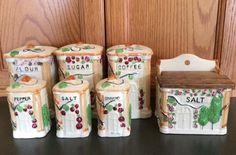 Vintage Ceramic Canister Set Salt Box Salt Pepper Cinnamon Shakers Roses Japan