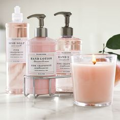 I love the Pink Grapefruit collection from Williams-Sonoma! The hand soap and lotion smell so delicious - light and fresh just as the a ripe grapefruit does.