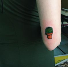 Hand Poked Cactus Tattoo by Gökşen Gökalp